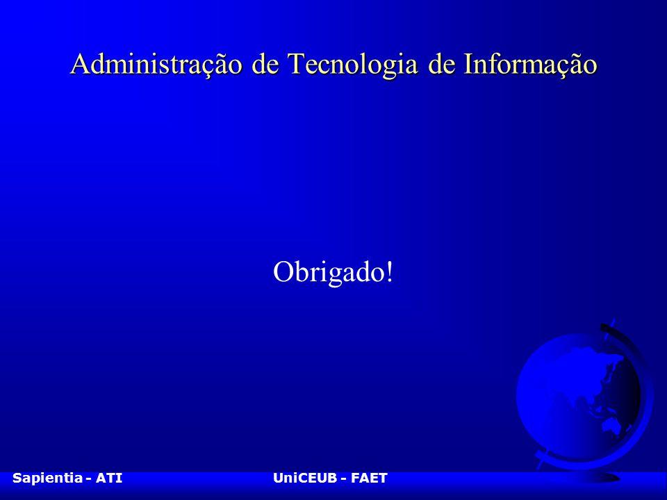 Sapientia - ATIUniCEUB - FAET Administração de Tecnologia de Informação Obrigado!
