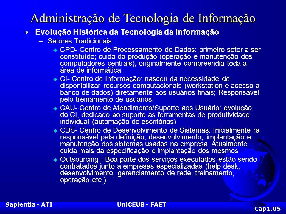 Sapientia - ATIUniCEUB - FAET Administração de Tecnologia de Informação F Evolução Histórica da Tecnologia da Informação –Setores Tradicionais u CPD-