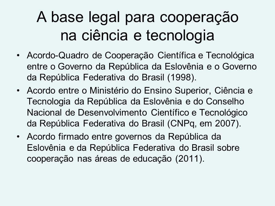A base legal para cooperação na ciência e tecnologia Acordo-Quadro de Cooperação Científica e Tecnológica entre o Governo da República da Eslovênia e o Governo da República Federativa do Brasil (1998).