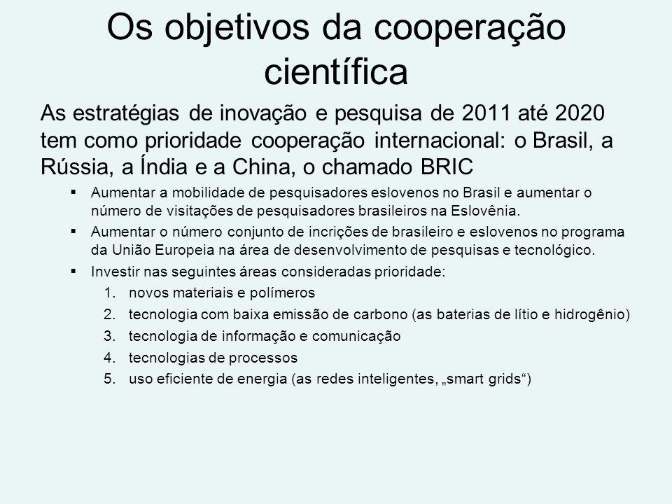 Os objetivos da cooperação científica As estratégias de inovação e pesquisa de 2011 até 2020 tem como prioridade cooperação internacional: o Brasil, a Rússia, a Índia e a China, o chamado BRIC Aumentar a mobilidade de pesquisadores eslovenos no Brasil e aumentar o número de visitações de pesquisadores brasileiros na Eslovênia.