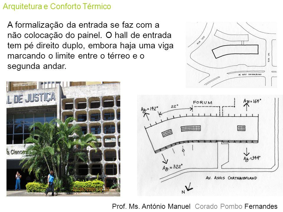 Arquitetura e Conforto Térmico Prof. Ms. António Manuel Corado Pombo Fernandes A formalização da entrada se faz com a não colocação do painel. O hall