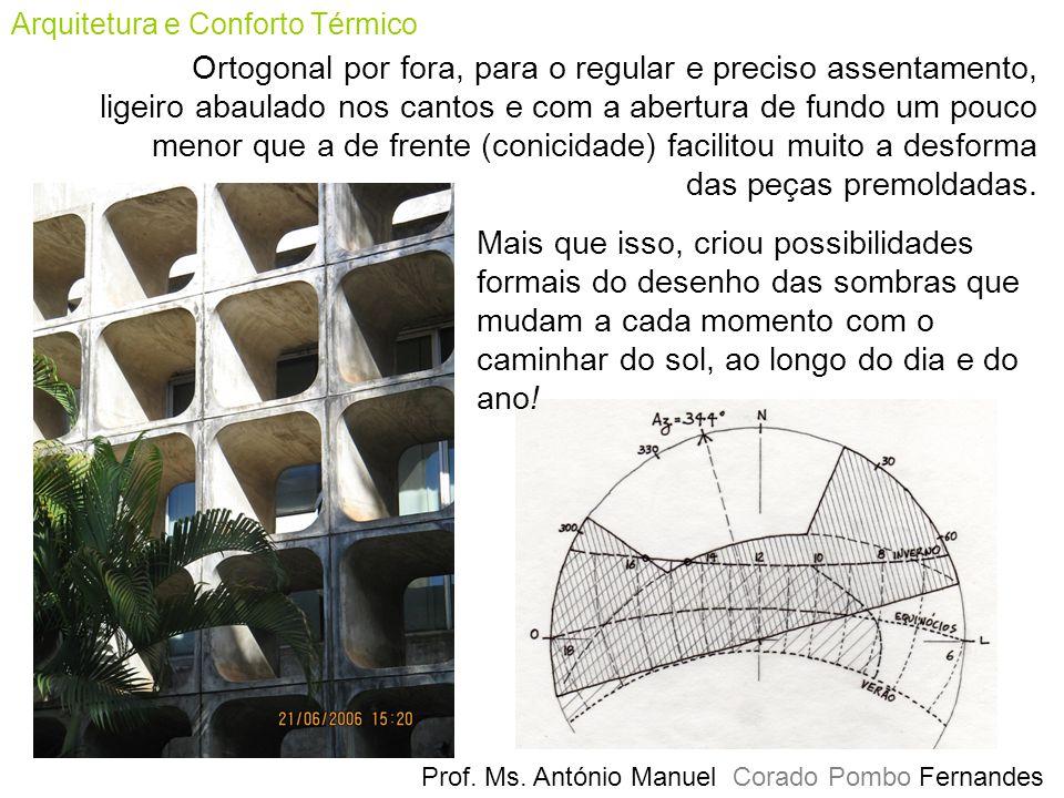 Prof. Ms. António Manuel Corado Pombo Fernandes Arquitetura e Conforto Térmico Ortogonal por fora, para o regular e preciso assentamento, ligeiro abau