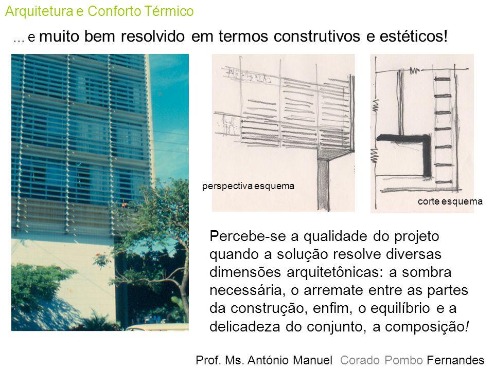 Arquitetura e Conforto Térmico Prof. Ms. António Manuel Corado Pombo Fernandes... e muito bem resolvido em termos construtivos e estéticos! corte esqu