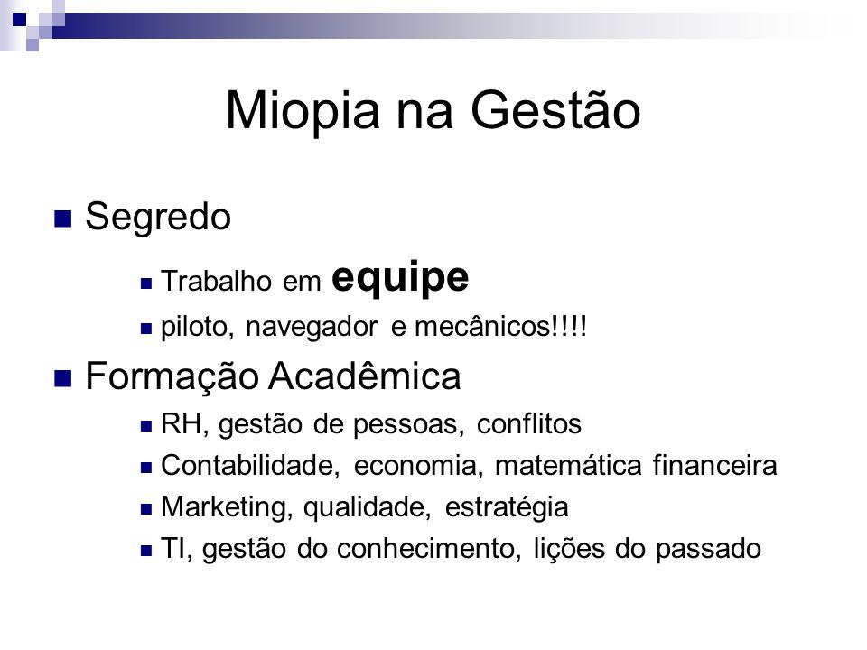 Miopia na Gestão Segredo Trabalho em equipe piloto, navegador e mecânicos!!!! Formação Acadêmica RH, gestão de pessoas, conflitos Contabilidade, econo