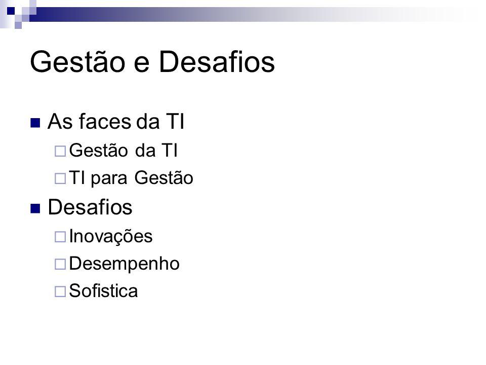 As faces da TI Gestão da TI TI para Gestão Desafios Inovações Desempenho Sofistica