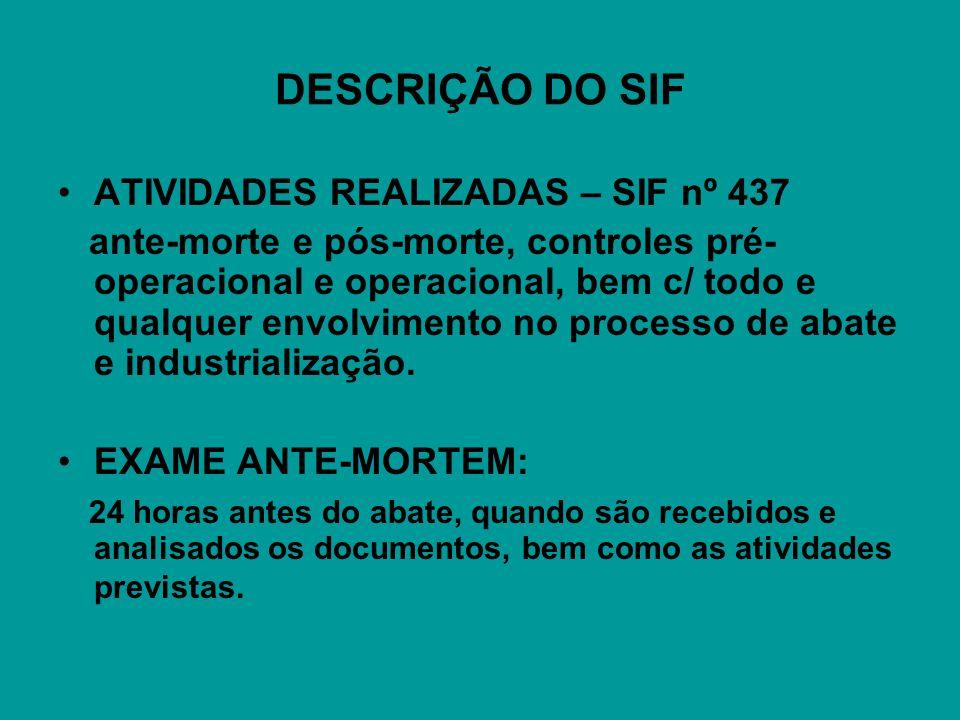 DESCRIÇÃO DO SIF ATIVIDADES REALIZADAS – SIF nº 437 ante-morte e pós-morte, controles pré- operacional e operacional, bem c/ todo e qualquer envolvimento no processo de abate e industrialização.