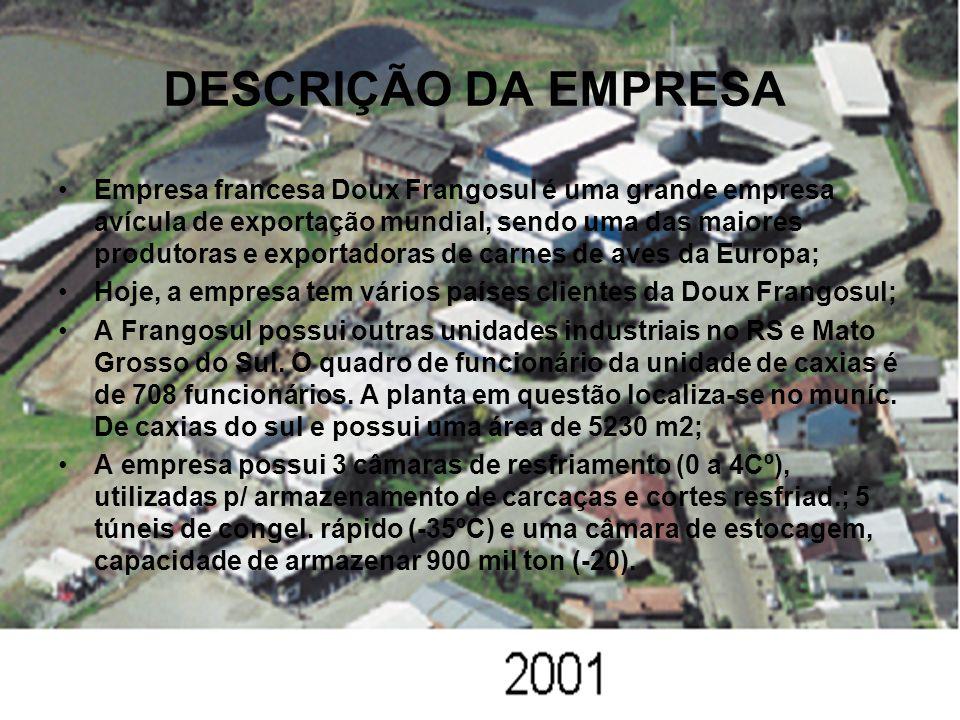 DESCRIÇÃO DA EMPRESA Empresa francesa Doux Frangosul é uma grande empresa avícula de exportação mundial, sendo uma das maiores produtoras e exportadoras de carnes de aves da Europa; Hoje, a empresa tem vários países clientes da Doux Frangosul; A Frangosul possui outras unidades industriais no RS e Mato Grosso do Sul.