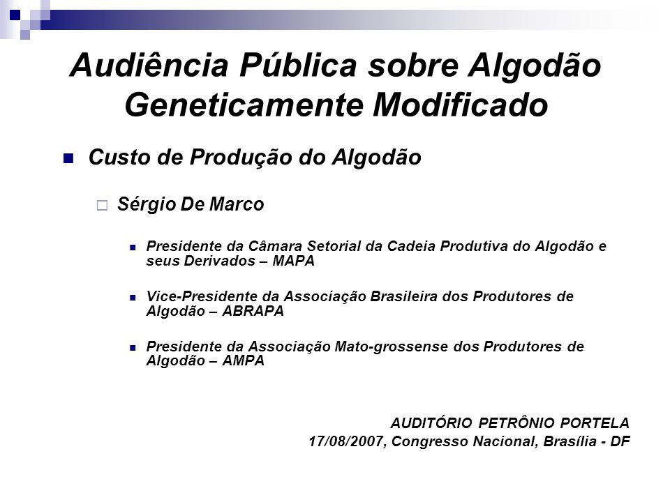 Audiência Pública sobre Algodão Geneticamente Modificado Custo de Produção do Algodão Sérgio De Marco Presidente da Câmara Setorial da Cadeia Produtiv