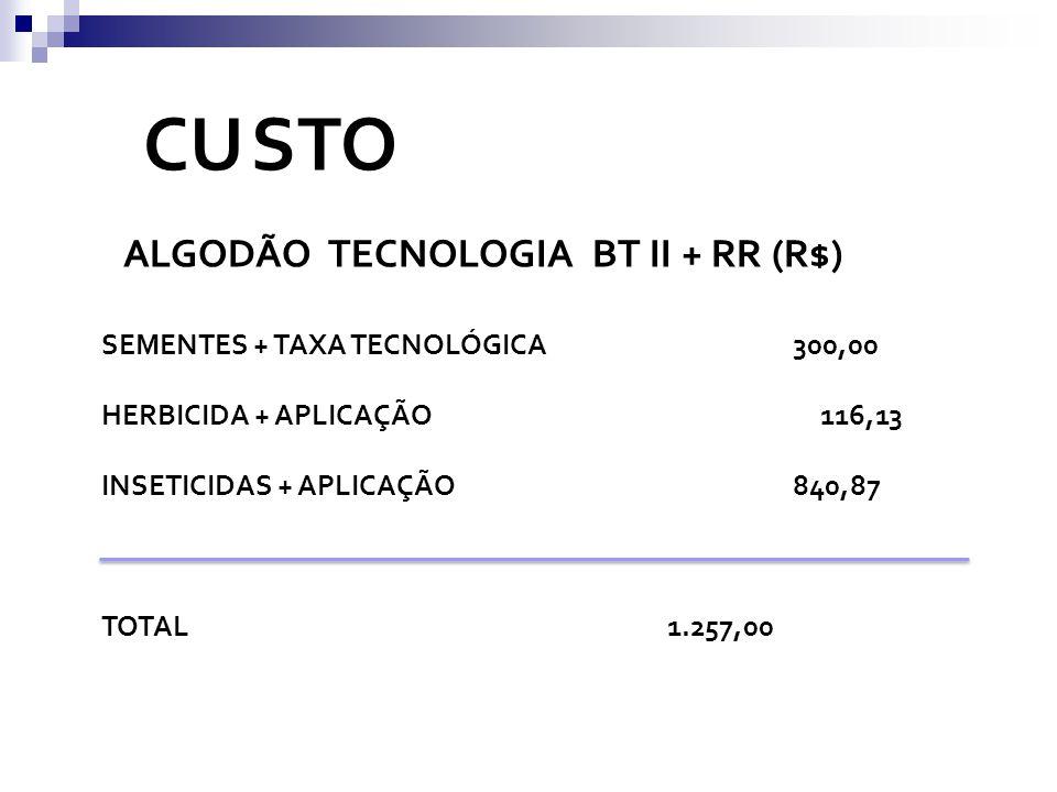 CU STO ALGODÃO TECNOLOGIA BT II + RR (R$) SEMENTES + TAXA TECNOLÓGICA 300,00 HERBICIDA + APLICAÇÃO 116,13 INSETICIDAS + APLICAÇÃO 840,87 TOTAL 1.257,0