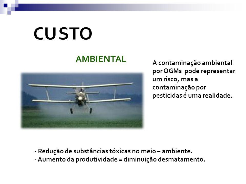 CU STO AMBIENTAL - Redução de substâncias tóxicas no meio – ambiente. - Aumento da produtividade = diminuição desmatamento. A contaminação ambiental p