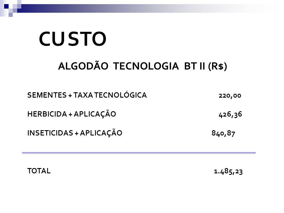 CU STO ALGODÃO TECNOLOGIA BT II (R$) SEMENTES + TAXA TECNOLÓGICA 220,00 HERBICIDA + APLICAÇÃO 426,36 INSETICIDAS + APLICAÇÃO 840,87 TOTAL 1.485,23
