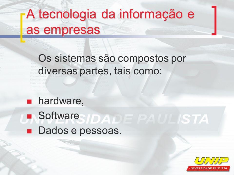A tecnologia da informação e as empresas Os sistemas são compostos por diversas partes, tais como: hardware, Software Dados e pessoas.