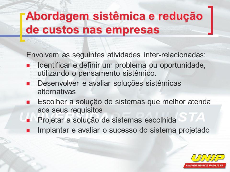 Abordagem sistêmica e redução de custos nas empresas Envolvem as seguintes atividades inter-relacionadas: Identificar e definir um problema ou oportun