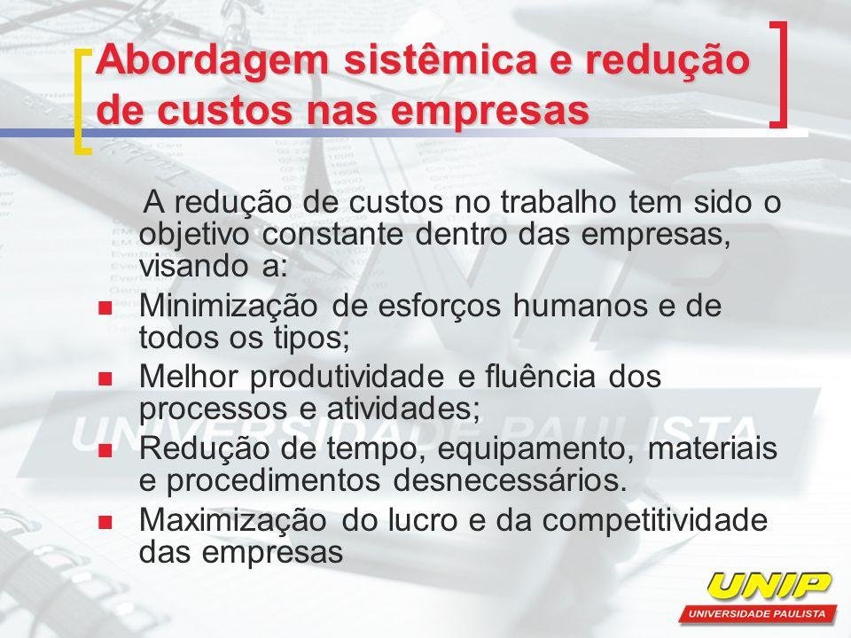 Abordagem sistêmica e redução de custos nas empresas A redução de custos no trabalho tem sido o objetivo constante dentro das empresas, visando a: Min