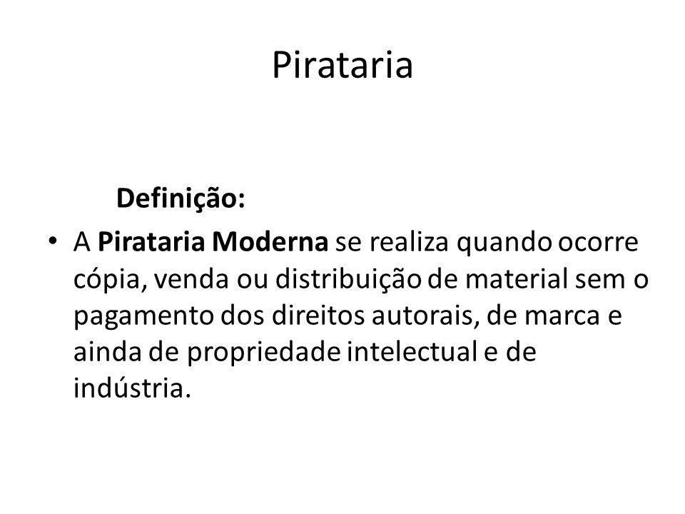 Pirataria Definição: A Pirataria Moderna se realiza quando ocorre cópia, venda ou distribuição de material sem o pagamento dos direitos autorais, de m