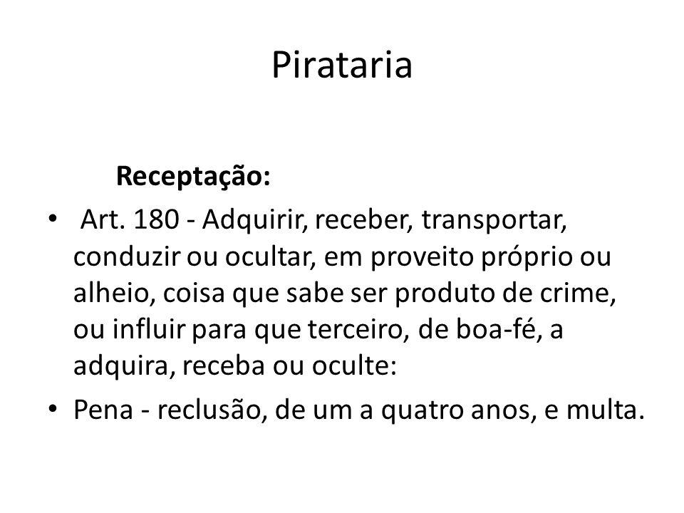 Pirataria Receptação: Art. 180 - Adquirir, receber, transportar, conduzir ou ocultar, em proveito próprio ou alheio, coisa que sabe ser produto de cri