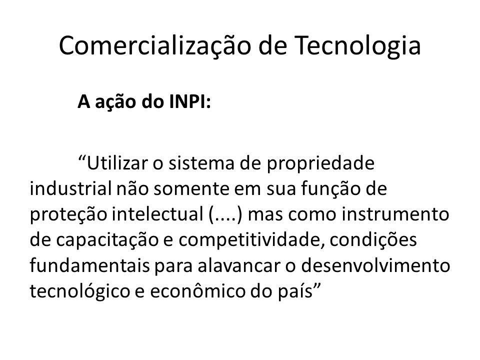 Comercialização de Tecnologia A ação do INPI: Utilizar o sistema de propriedade industrial não somente em sua função de proteção intelectual (....) ma