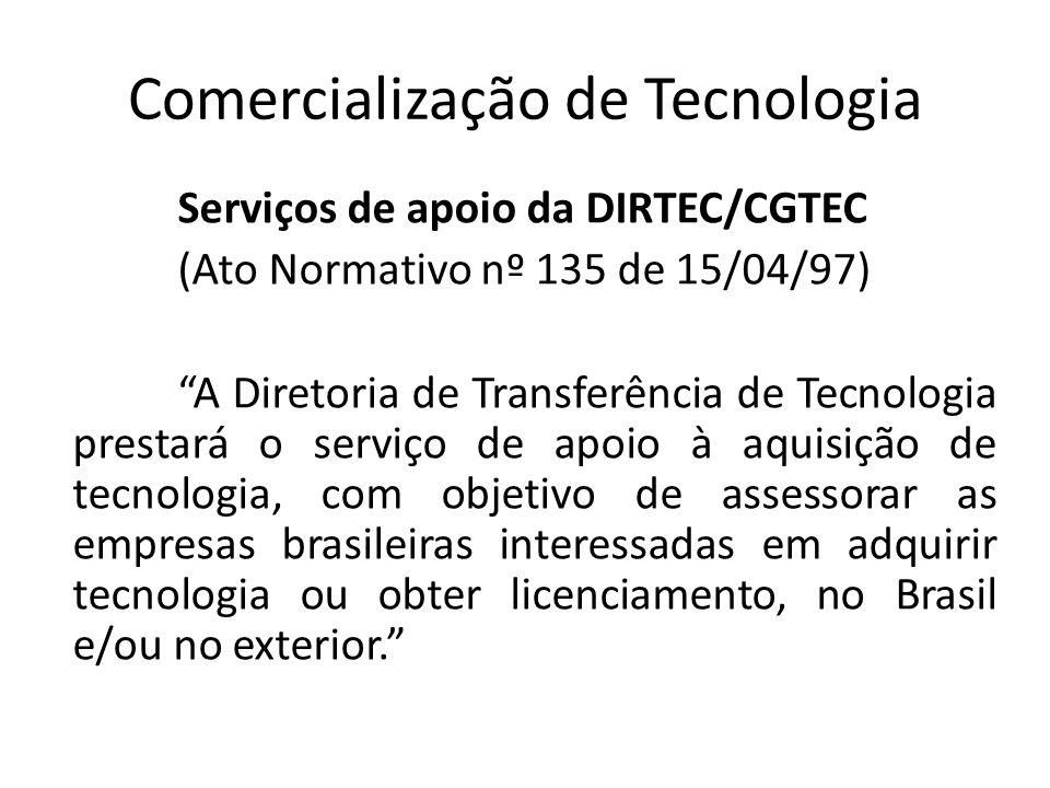 Comercialização de Tecnologia Serviços de apoio da DIRTEC/CGTEC (Ato Normativo nº 135 de 15/04/97) A Diretoria de Transferência de Tecnologia prestará
