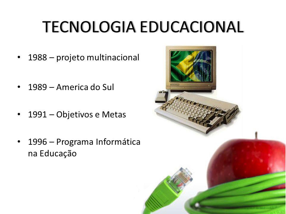 TECNOLOGIA EDUCACIONALTECNOLOGIA EDUCACIONAL 1988 – projeto multinacional 1989 – America do Sul 1991 – Objetivos e Metas 1996 – Programa Informática na Educação
