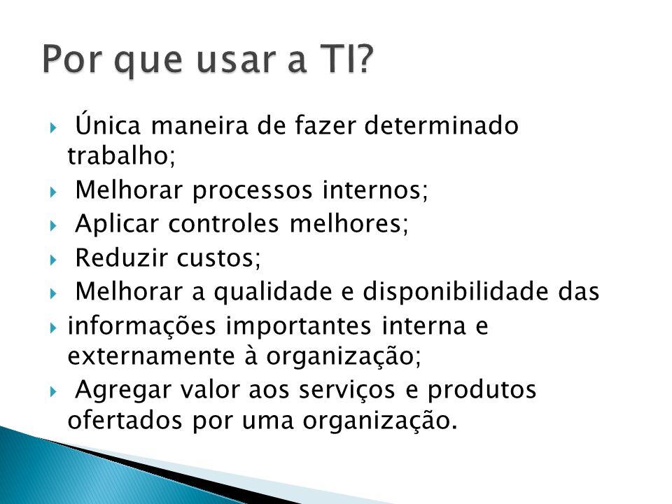 Única maneira de fazer determinado trabalho; Melhorar processos internos; Aplicar controles melhores; Reduzir custos; Melhorar a qualidade e disponibi