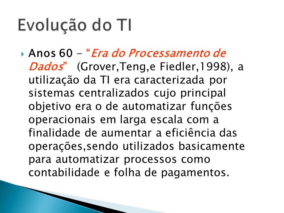 Anos 60 - Era do Processamento de Dados (Grover,Teng,e Fiedler,1998), a utilização da TI era caracterizada por sistemas centralizados cujo principal o