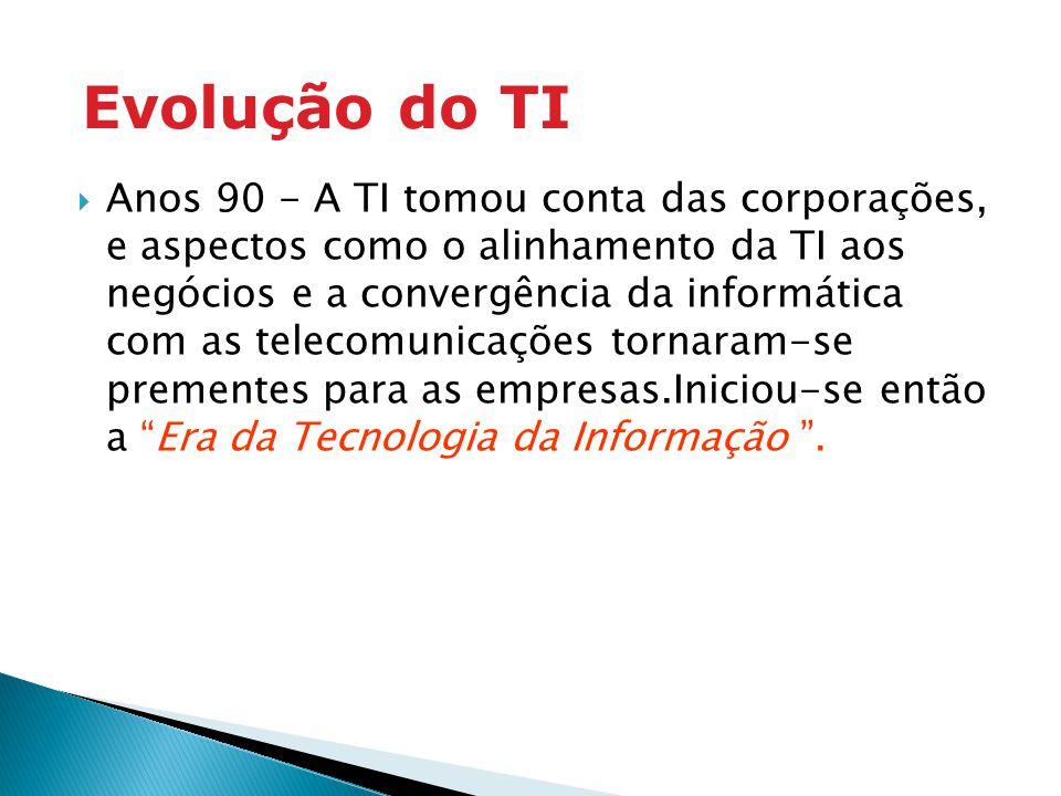 Anos 90 - A TI tomou conta das corporações, e aspectos como o alinhamento da TI aos negócios e a convergência da informática com as telecomunicações t