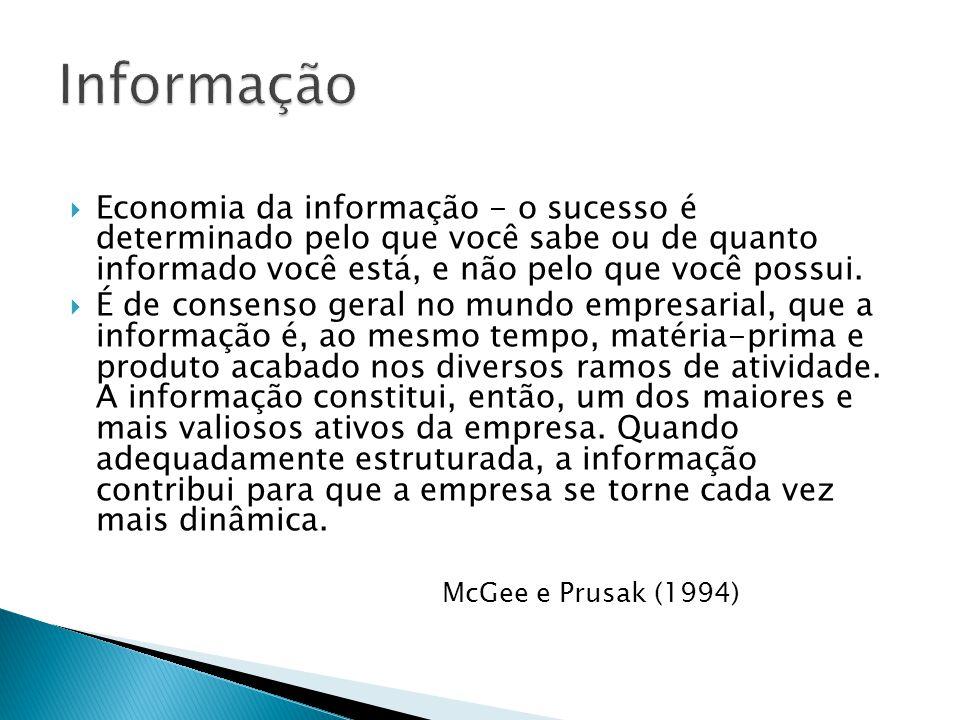 Economia da informação - o sucesso é determinado pelo que você sabe ou de quanto informado você está, e não pelo que você possui. É de consenso geral