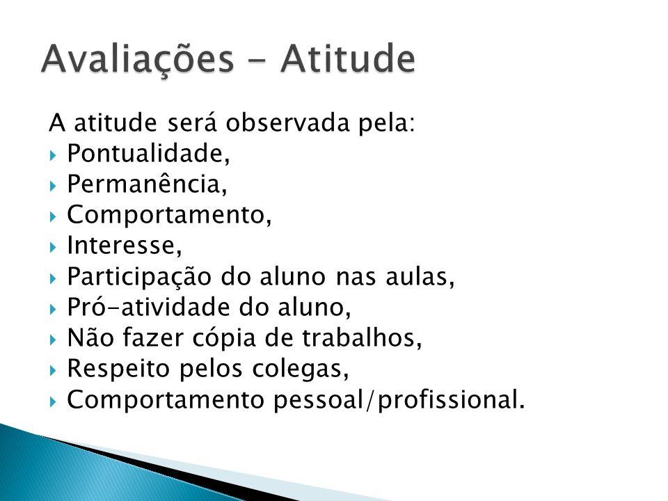 A atitude será observada pela: Pontualidade, Permanência, Comportamento, Interesse, Participação do aluno nas aulas, Pró-atividade do aluno, Não fazer