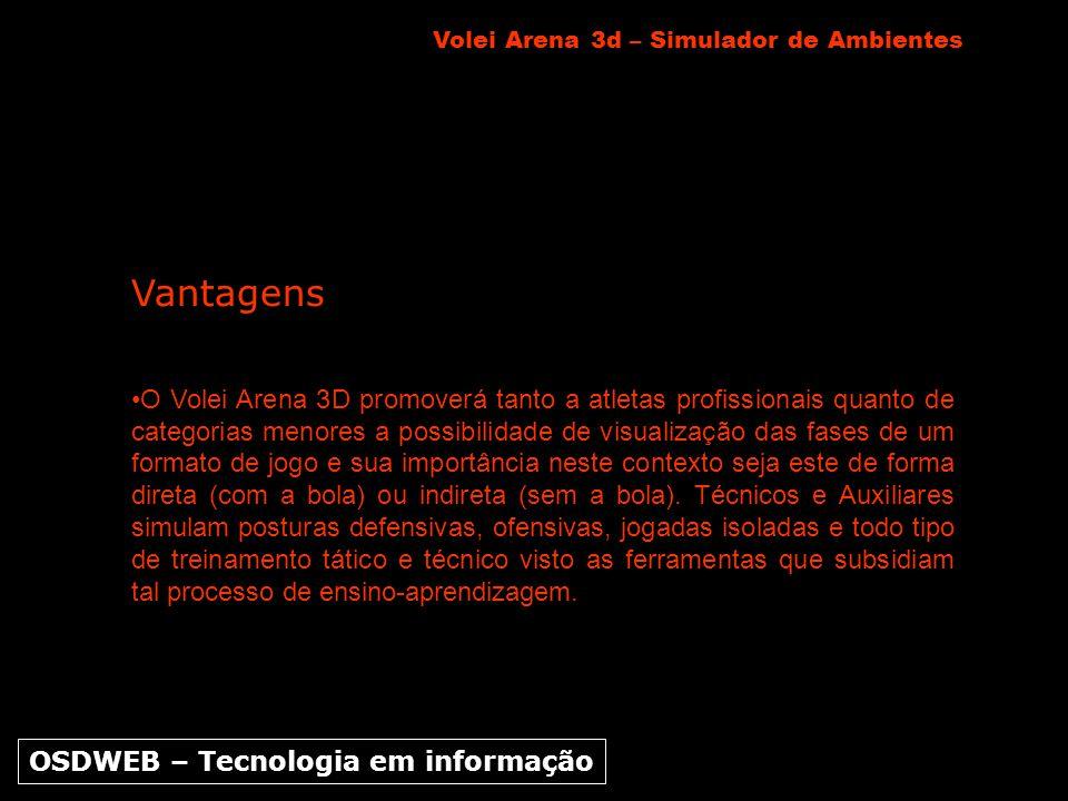 Vantagens O Volei Arena 3D promoverá tanto a atletas profissionais quanto de categorias menores a possibilidade de visualização das fases de um format