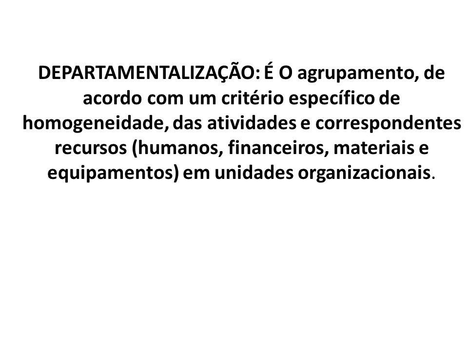 DEPARTAMENTALIZAÇÃO: É O agrupamento, de acordo com um critério específico de homogeneidade, das atividades e correspondentes recursos (humanos, finan