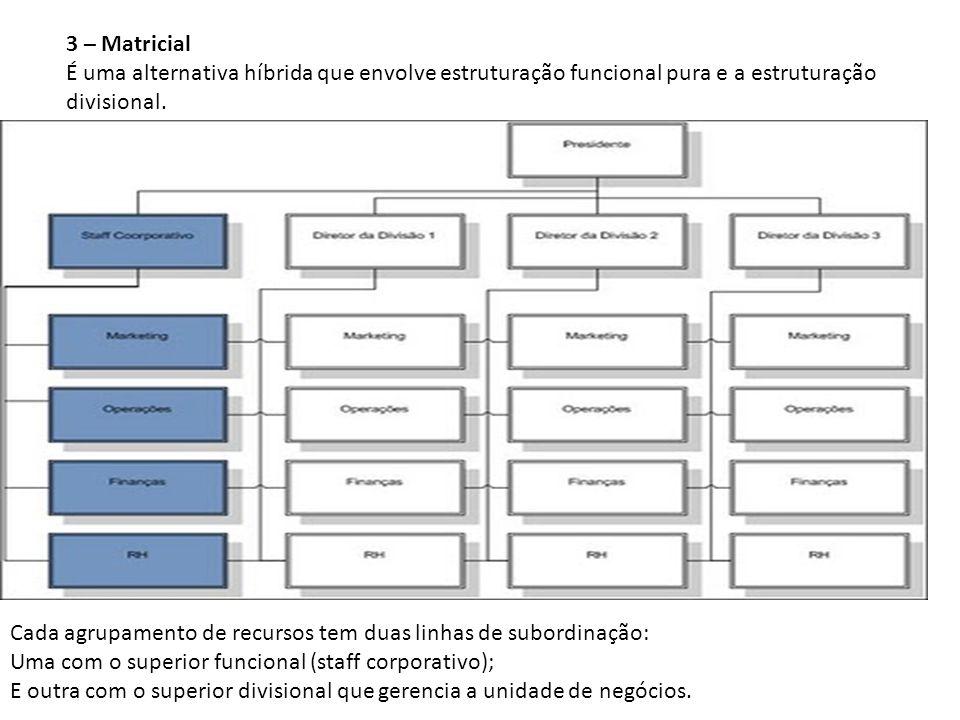 3 – Matricial É uma alternativa híbrida que envolve estruturação funcional pura e a estruturação divisional. Cada agrupamento de recursos tem duas lin