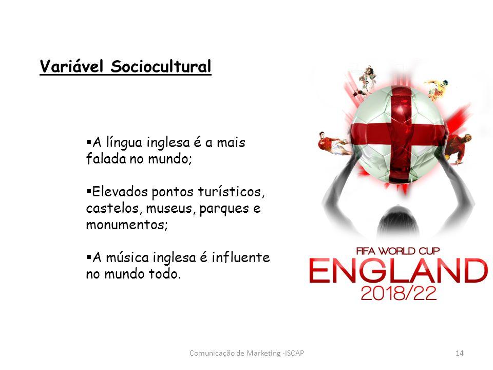Comunicação de Marketing -ISCAP14 Variável Sociocultural A língua inglesa é a mais falada no mundo; Elevados pontos turísticos, castelos, museus, parq