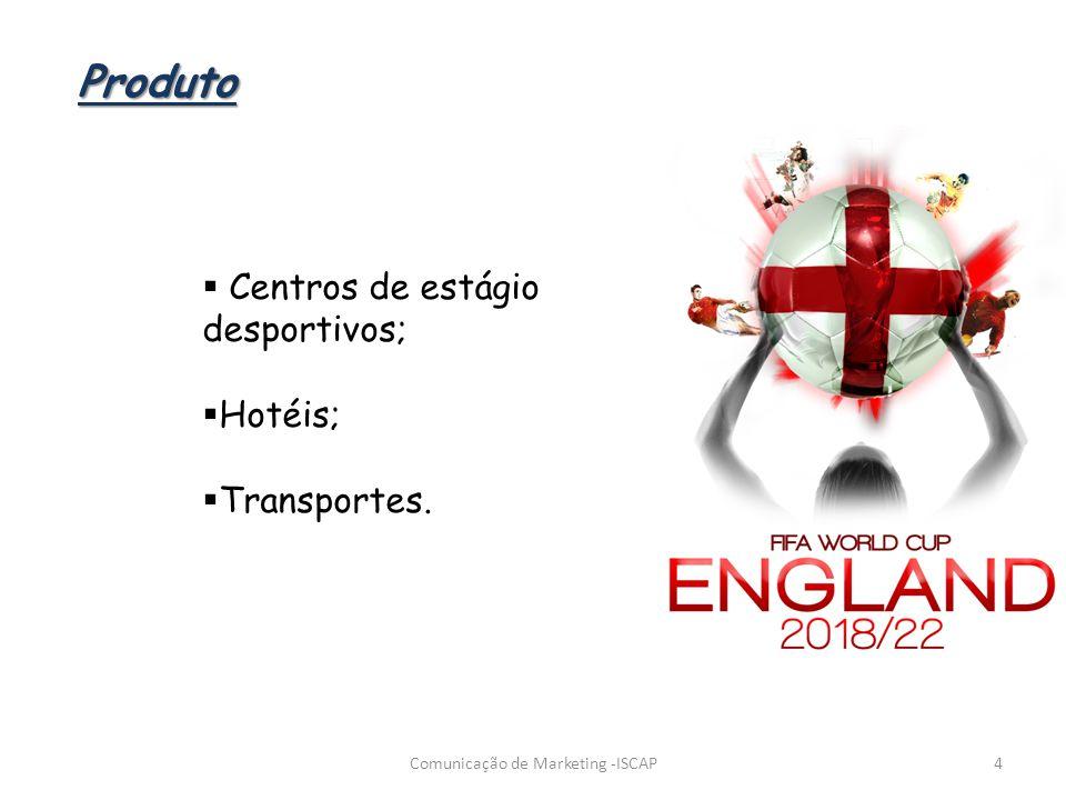Centros de estágio desportivos; Hotéis; Transportes. 4Comunicação de Marketing -ISCAP Produto