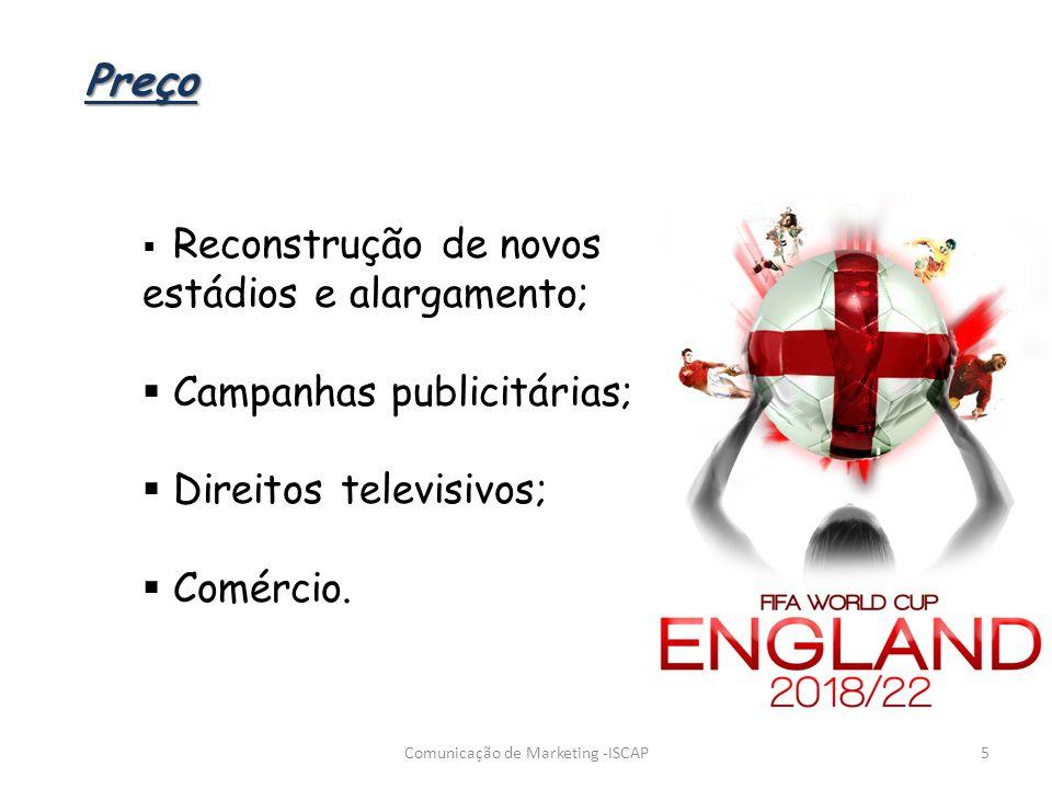 Reconstrução de novos estádios e alargamento; Campanhas publicitárias; Direitos televisivos; Comércio. 5Comunicação de Marketing -ISCAP Preço
