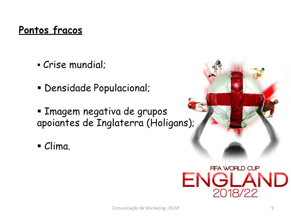 Pontos fracos Crise mundial; Densidade Populacional; Imagem negativa de grupos apoiantes de Inglaterra (Holigans); Clima. 9Comunicação de Marketing -I