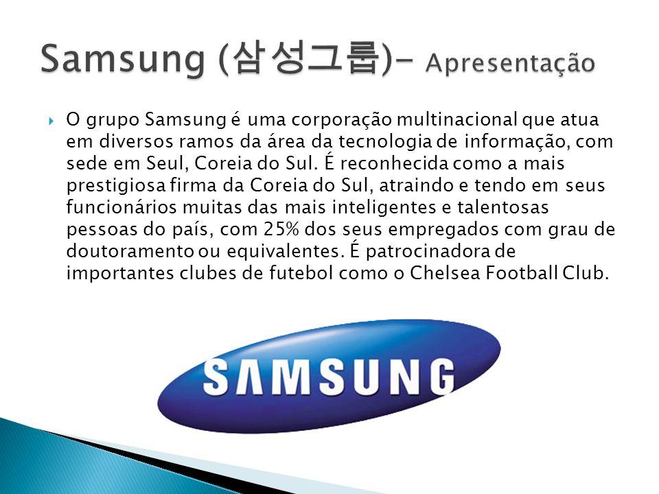 O grupo Samsung é uma corporação multinacional que atua em diversos ramos da área da tecnologia de informação, com sede em Seul, Coreia do Sul. É reco