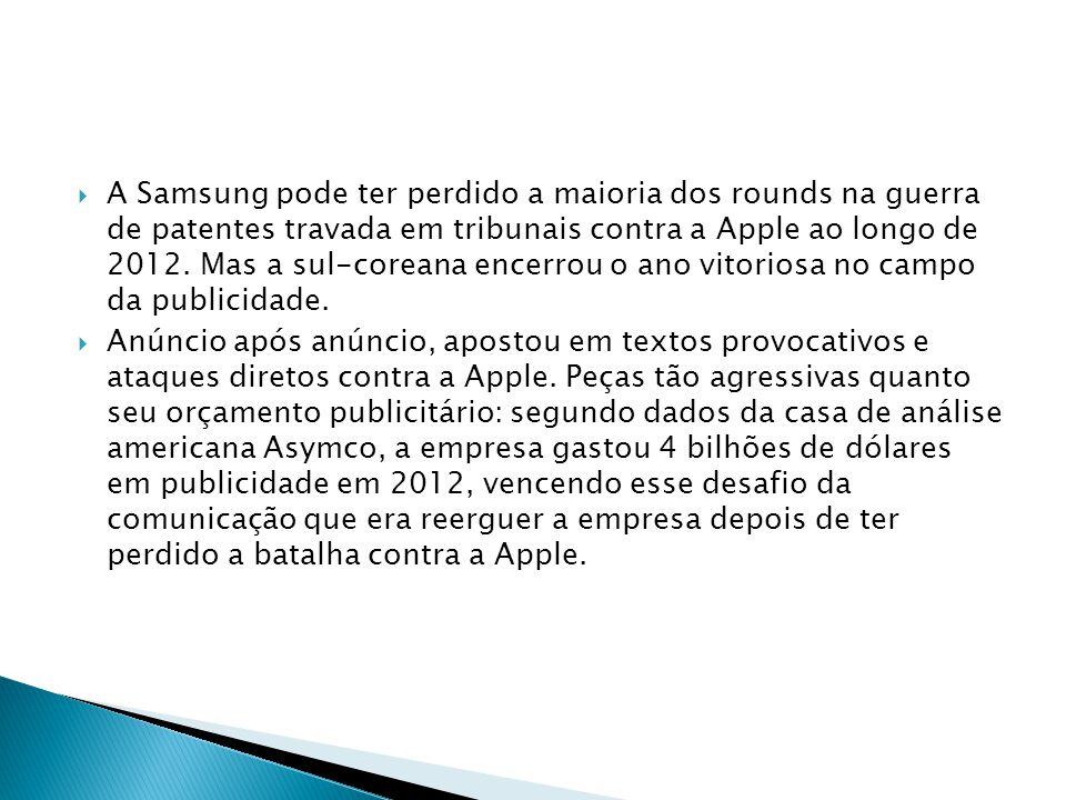 A Samsung pode ter perdido a maioria dos rounds na guerra de patentes travada em tribunais contra a Apple ao longo de 2012. Mas a sul-coreana encerrou
