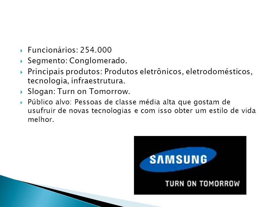 Funcionários: 254.000 Segmento: Conglomerado. Principais produtos: Produtos eletrônicos, eletrodomésticos, tecnologia, infraestrutura. Slogan: Turn on