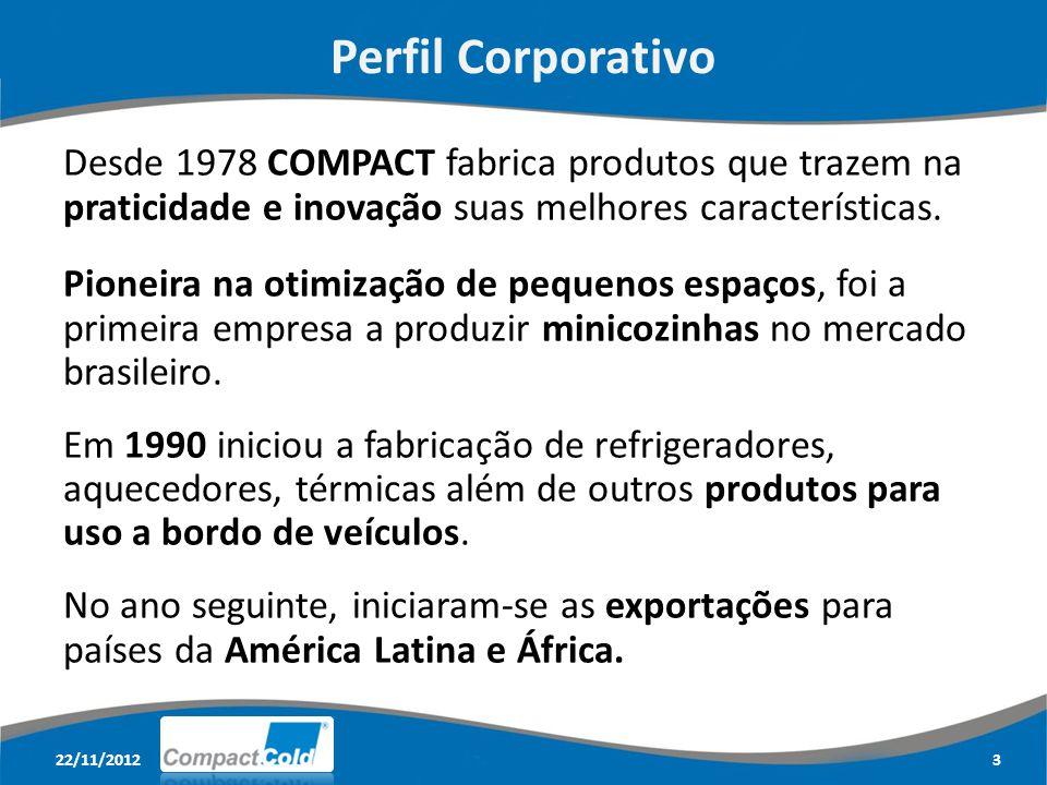 22/11/20124 Perfil Corporativo A busca por novos mercados se traduziu com o lançamento de refrigeradores especiais para a linha de caminhões em 2012.
