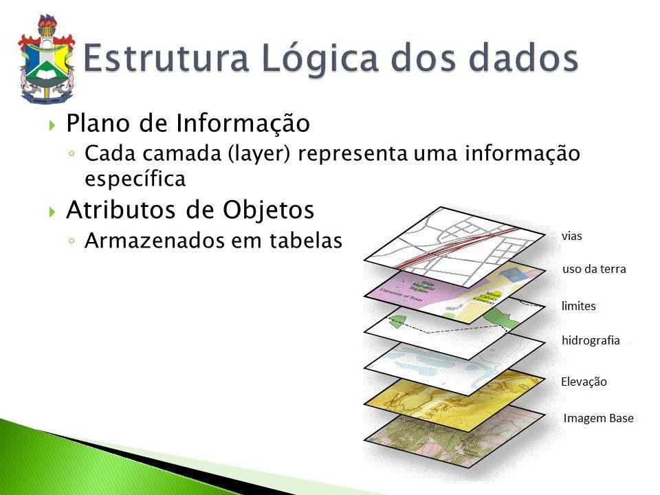 Plano de Informação (camada, nível ou layers) Contém informações referentes a um tipo de dados Exemplo: Plano de Informação