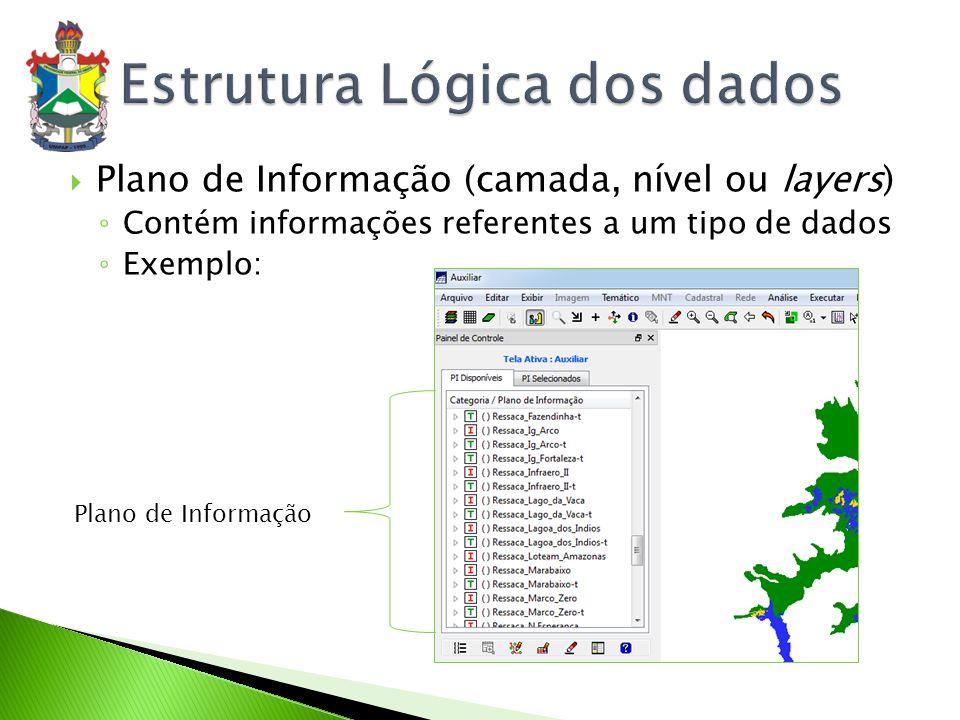 SPRING Dados alfanuméricos: SGBD relacional (DBase, Access, MySQL, Oracle) Dados espaciais: arquivos com formato específico ArcView/ ARC/INFO (até versão 7) Dados alfanuméricos: SGBD relacional Dados espaciais: shapefiles IDRISI Dados alfanuméricos: SGBD relacional Dados espaciais: matrizes