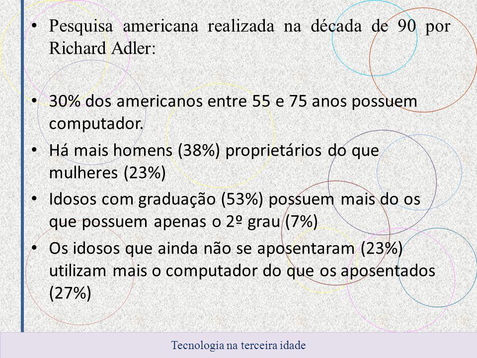 Pesquisa americana realizada na década de 90 por Richard Adler: 30% dos americanos entre 55 e 75 anos possuem computador. Há mais homens (38%) proprie