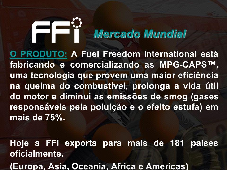 Mercado Mundial O PRODUTO: A Fuel Freedom International está fabricando e comercializando as MPG-CAPS, uma tecnologia que provem uma maior eficiência