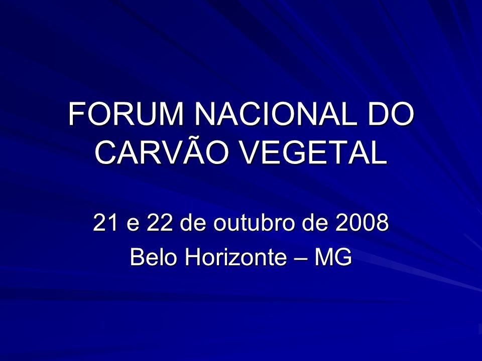 FORUM NACIONAL DO CARVÃO VEGETAL 21 e 22 de outubro de 2008 Belo Horizonte – MG