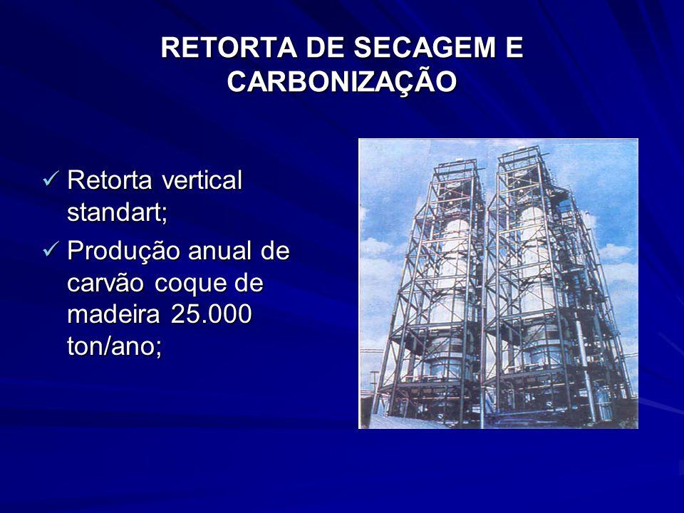 Retorta vertical standart; Retorta vertical standart; Produção anual de carvão coque de madeira 25.000 ton/ano; Produção anual de carvão coque de made