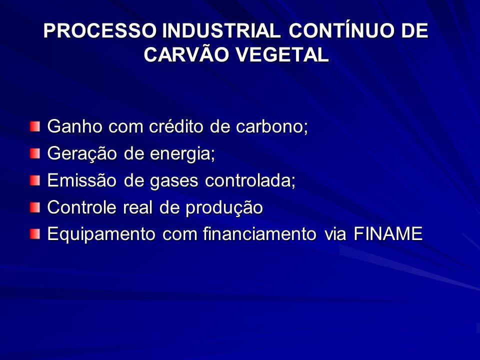PROCESSO INDUSTRIAL CONTÍNUO DE CARVÃO VEGETAL Ganho com crédito de carbono; Geração de energia; Emissão de gases controlada; Controle real de produçã