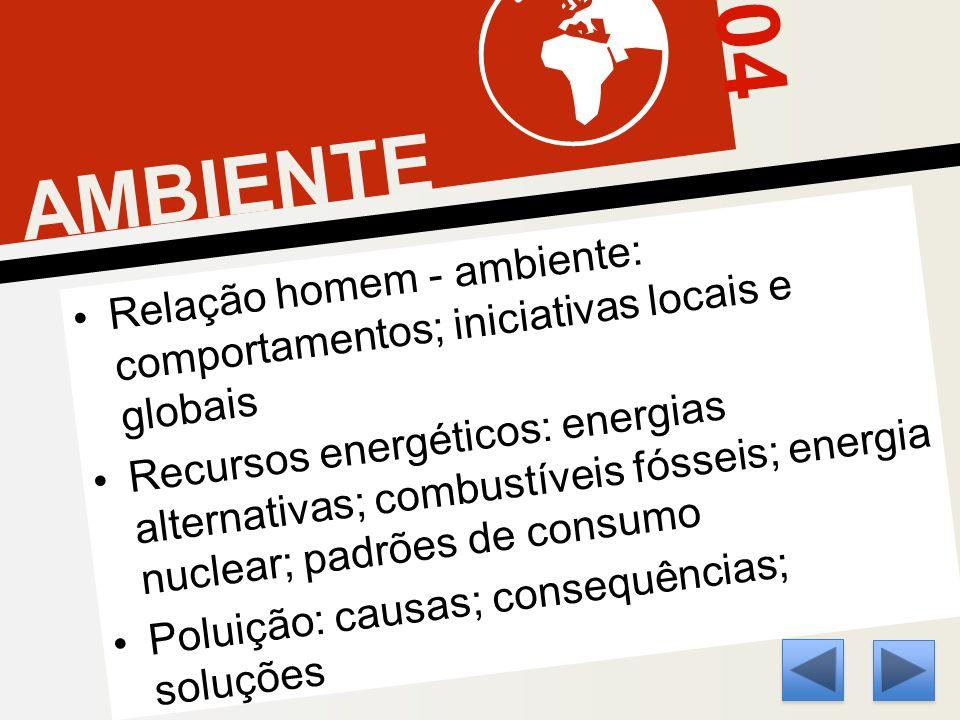 04 AMBIENTE Relação homem - ambiente: comportamentos; iniciativas locais e globais Recursos energéticos: energias alternativas; combustíveis fósseis; energia nuclear; padrões de consumo Poluição: causas; consequências; soluções