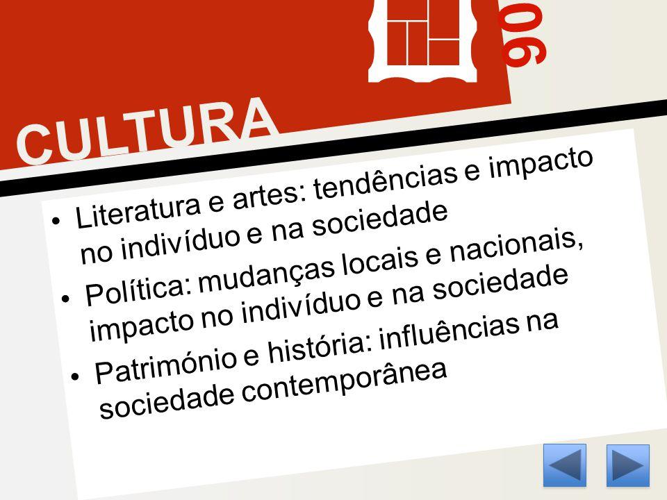 06 CULTURA Literatura e artes: tendências e impacto no indivíduo e na sociedade Política: mudanças locais e nacionais, impacto no indivíduo e na sociedade Património e história: influências na sociedade contemporânea