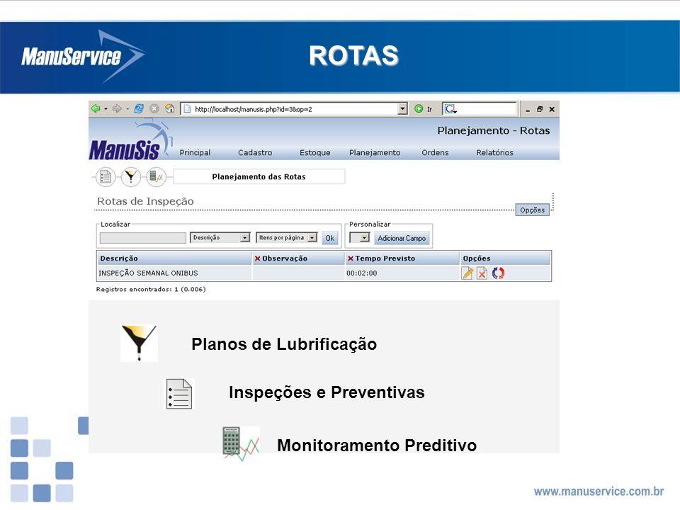 ROTAS Planos de Lubrificação Monitoramento Preditivo Inspeções e Preventivas