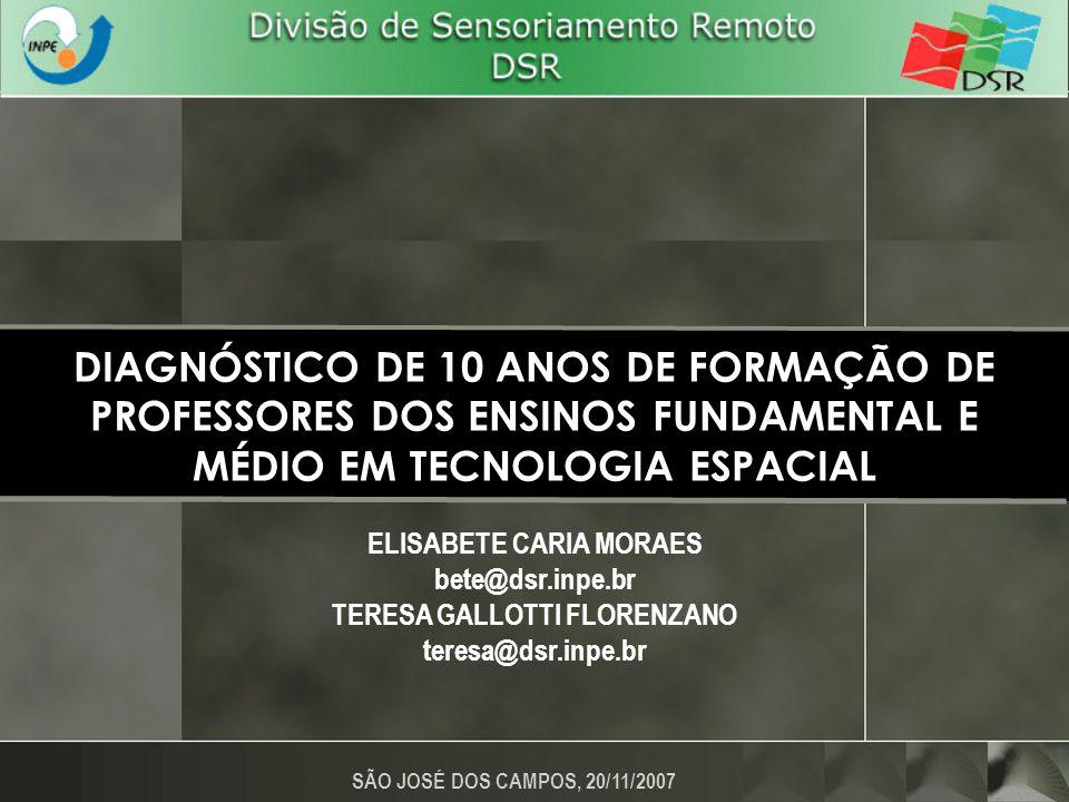 FORMAÇÃO CONTINUADA DE PROFESSORES CURSO DE USO ESCOLAR DO SENSORIAMENTO REMOTO NO ESTUDO DO MEIO AMBIENTE